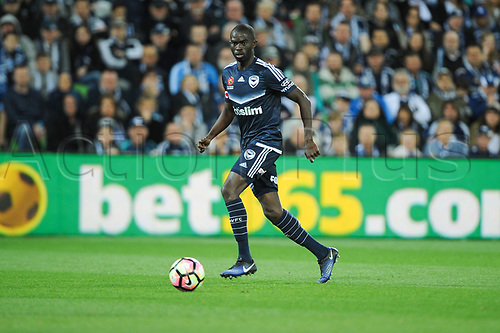 30th April 2017, AAMI Park, Melbourne, Australia; Hyundai A-League Football; Melbourne Victory versus Brisbane Roar FC; Jason Geria of the Melbourne Victory runs with the ball during the second half