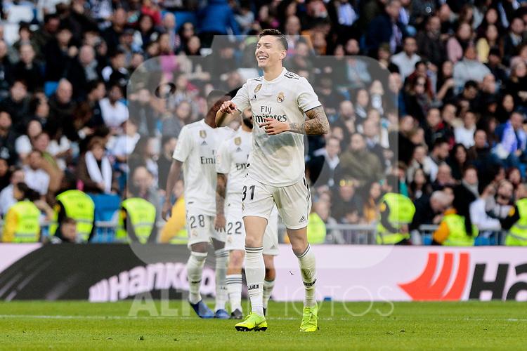 Real Madrid's Javi Sanchez celebrates goal during Copa del Rey match between Real Madrid and UD Melilla at Santiago Bernabeu Stadium in Madrid, Spain. December 06, 2018. (ALTERPHOTOS/A. Perez Meca)