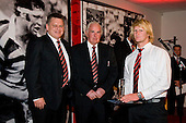 Jamie Chipman receives the Counties Manukau Steelers Rookie Player of the Year Award from Matthew Newman & Barry Phillips. CMRFU Senior prize giving held at Growers Stadium on Wednesday 22nd of October 2008.