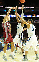 Villanova's Darryl Reynolds (45) and Josh Hart (3) defend as IUP's (50) attempts a pass in the first half Saturday, November 5, 2016 at the Wells Fargo Center in Philadelphia, Pennsylvania. (WILLIAM THOMAS CAIN / For The Philadelphia Inquirer)