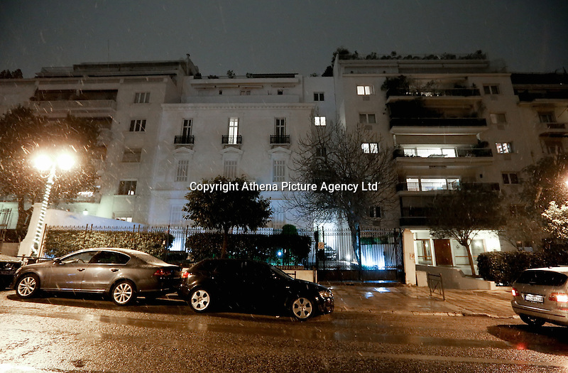 Pictured: The house in Irodou Atticou Street in central Athens where the body of Russian diplomat Andrei Malanin was discovered in Greece. Monday 09 January 2017<br /> Re: The head of Russia's consular services in Greece was found dead in his Athens flat.<br /> Andrei Malanin, 55, was found lying on his back on the bedroom floor, a police source told AFP, adding that there were no signs of forced entry.<br /> Malanin lived alone in a Russian embassy-owned building near the official residence of the Greek prime minister and president are also situated, the source added.<br /> Malanin's staff had been looking for him after he failed to report for work in the morning.