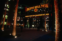 SAN FRANCISCO, CA - Nighttime exterior view of Pacific Bell Park in San Francisco, California in 2000. Photo by Brad Mangin