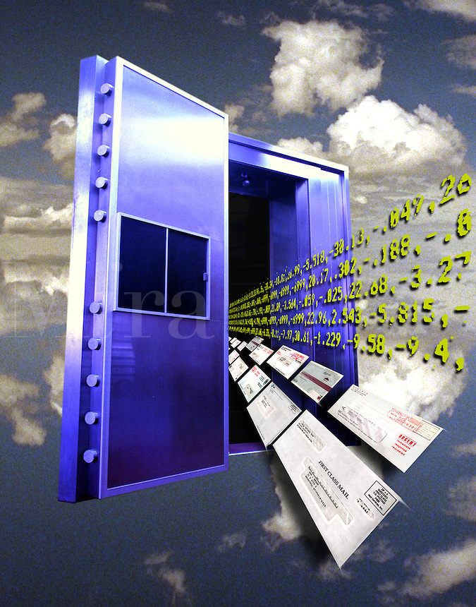 Studio shot, composite digital illustration - bank vault & email or mail, e-commerce.