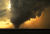 A large tornado is sillouetted by golden sunlight southwest of Brice Texas on March 28th, 2007. This tornado remained on the ground for over half an hour.