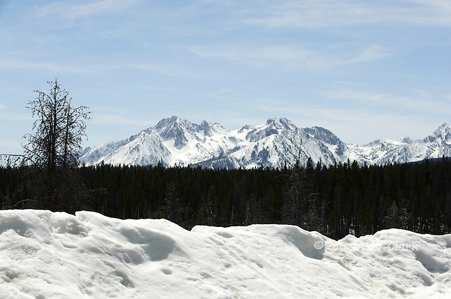 Sawtooth Mountains in the winter near Stanley, Idaho with snow