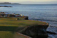 A general view of the 18th tee during the first round of the AT&amp;T Pro-Am, Pebble Beach Golf Links, Monterey, California, USA. 07/02/2019<br /> Picture: Golffile | Phil Inglis<br /> <br /> <br /> All photo usage must carry mandatory copyright credit (&copy; Golffile | Phil Inglis)