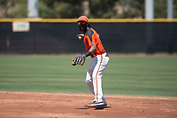 San Francisco Giants Orange second baseman Alen Hanson (22) prepares to make a throw to first base in a rehab appearance during an Extended Spring Training game against the Seattle Mariners at the San Francisco Giants Training Complex on May 28, 2018 in Scottsdale, Arizona. (Zachary Lucy/Four Seam Images)