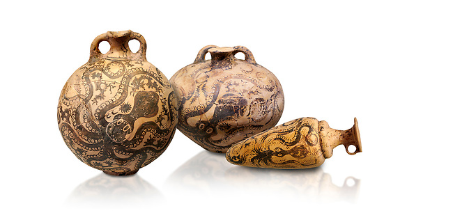 Minoan pottery with stylised octopus decorations, 1500-1400 BC, Heraklion Archaeological Museum, white background.  <br /> <br /> From Left to right<br /> 1- flask with Marine style stylised octopus design,   Palaikastro,  1500-1450 BC; <br /> 2.Minoan clay flask with octopus design, Speial Palatial Style , Pseira  1500-1400 BC BC, <br /> 3- conical rhython with Marine style stylised octopus design,   Palaikastro 1500-1450 BC;