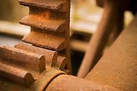 Old gears controlling small dam, Cesky Krumlov, Czech Republic