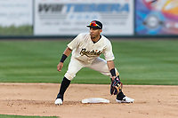 Visalia Rawhide second baseman Jose Caballero (7) during a California League game against the Rancho Cucamonga Quakes on April 8, 2019 in Visalia, California. Rancho Cucamonga defeated Visalia 4-1. (Zachary Lucy/Four Seam Images)