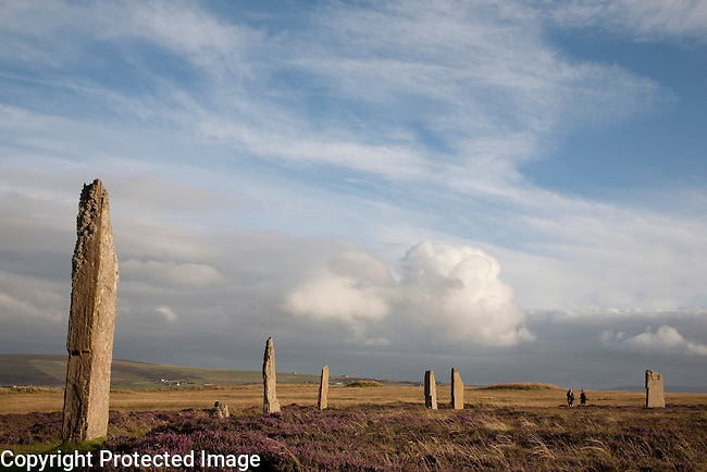 Ring of Brodgar in the Orkney Islands, Scotland with Two Vistors