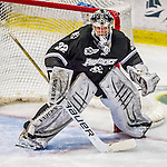 116 November 2013: Providence College Friar Goaltender Jon Gillies, a Sophomore from South Portland, Maine, in third period action against the University of Vermont Catamounts at Gutterson Fieldhouse in Burlington, Vermont. Gillies shut out the Catamounts to sweep the 2-game weekend Hockey East Series. Mandatory Credit: Ed Wolfstein Photo *** RAW (NEF) Image File Available ***