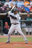 Alfredo Silverio #27 of the Great Lakes Loons at bat versus the Dayton Dragons at Fifth Third Field April 22, 2009 in Dayton, Ohio. (Photo by Brian Westerholt / Four Seam Images)
