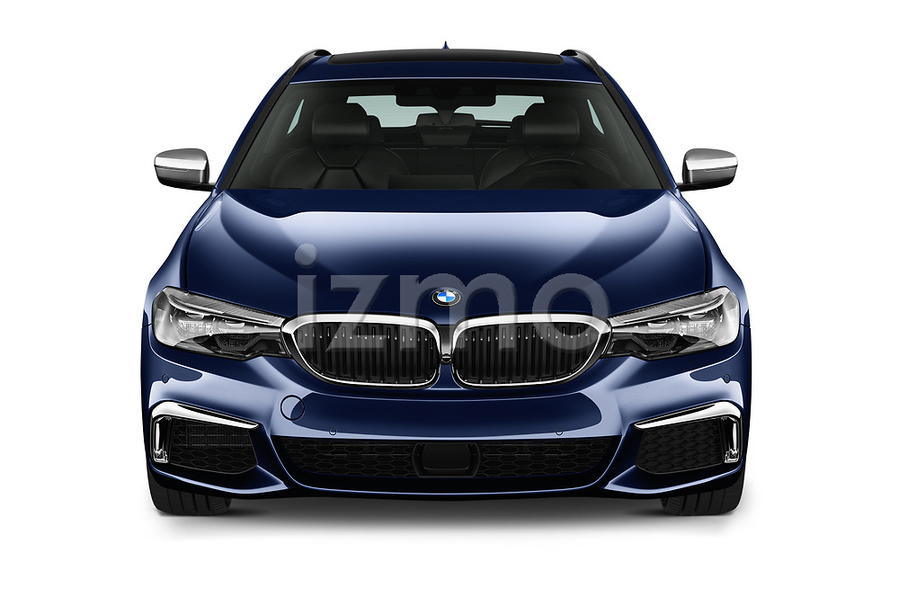 Car photography straight front view of a 2019 BMW 5-Series - 5 Door Wagon Front View