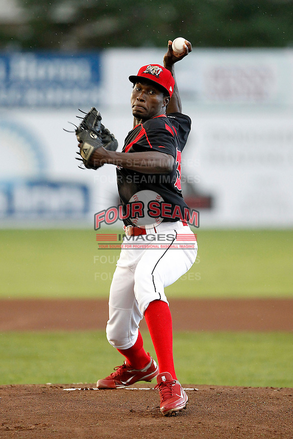 Batavia Muckdogs pitcher Jose Almarante #30 during a game against the Williamsport Crosscutters at Dwyer Stadium on August 25, 2011 in Batavia, New York.  Batavia defeated Williamsport 2-1.  (Mike Janes/Four Seam Images)