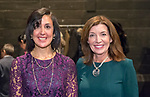 Hempstead, New York, USA. January 1, 2018. L-R, Hempstead Town Clerk SYLVIA CABANA and New York State Lieutenant Governor KATHY HOCHUL pose shortly before Swearing-In ceremony of Cabana and Hempstead Town Supervisor Laura Gillen at Hofstra University.