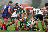David Poasa Osofua moves the ball wide. Counties Manukau Premier Club Rugby game between Ardmore Marist and Manurewa, played at Bruce Pulman Park Papakura on Saturday May 12th 2018. Ardmore Marist won the game 20 - 3 after leading 17 - 3 at halftime.<br /> Ardmore Marist - Katetistoti Nginingini try, penalty try, Latiume Fosita conversion, Latiume Fosita 2 penalties.<br /> Manurewa - Logan Fonoti penalty.<br /> Photo by Richard Spranger.