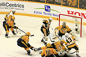 June 5th 2017, Nashiville, TN, USA;  Nashville Predators defenseman Roman Josi (59) blocks the shot of Pittsburgh Penguins left wing Conor Sheary (43) during Game 4 of the Stanley Cup Final between the Nashville Predators and the Pittsburgh Penguins, held on June 5, 2017, at Bridgestone Arena in Nashville, Tennessee.