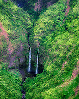 Waterfalls from the air. Kauai, Hawaii