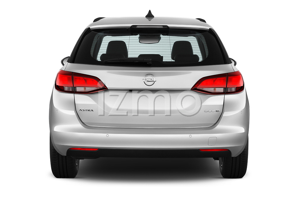 Straight rear view of 2017 Opel Astra Sports Tourer Edition 5 Door Wagon stock images