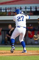 Josh Banuelos (27) of the Burlington Royals at bat against the Greeneville Astros at Burlington Athletic Park on June 29, 2014 in Burlington, North Carolina.  The Royals defeated the Astros 11-0. (Brian Westerholt/Four Seam Images)