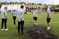 England Manager, Paul Simpson, walks across the pitch to join his coaching staff who are not happy with the playing surface in the goalmouth during Guatemala Under-23 vs England Under-20, Tournoi Maurice Revello Football at Stade Marcel Cerdan on 11th June 2019