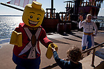 After the Priates' Cove Live Water Ski Show, lego characters greet small members of the audience in Legoland in Whitehaven, Florida on February 11, 2012.