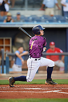 Charlotte Stone Crabs designated hitter Robbie Tenerowicz (1) follows through on a swing during a game against the Palm Beach Cardinals on April 21, 2018 at Charlotte Sports Park in Port Charlotte, Florida.  Charlotte defeated Palm Beach 5-2.  (Mike Janes/Four Seam Images)