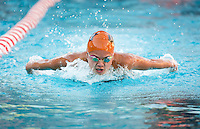 Lianne McKinney '18 in the women's 100 yard butterfly stroke. The Occidental College swim team competes against Lewis & Clark College and Westminster College in Taylor Pool on Jan. 6, 2015. (Photo by Marc Campos, Occidental College Photographer)