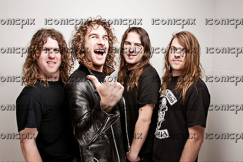 Airbourne - L-R: David Roads, Joel O'Keeffe, Ryan O'Keeffe, Jimmy Street - studio photosession in London UK - NOV 28, 2008.  Photo credit: Ashley Maile/Iconicpix  **NO WEBSITES* *.© Ashley Maile