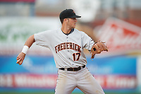 Frederick Keys third baseman Stephen Wilkerson (17) throws to first base during the second game of a doubleheader against the Wilmington Blue Rocks on May 14, 2017 at Daniel S. Frawley Stadium in Wilmington, Delaware.  Wilmington defeated Frederick 3-1.  (Mike Janes/Four Seam Images)