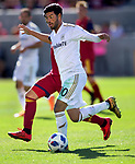 Los Angeles FC forward Carlos Vela (10) keeps the ball from Real Salt Lake forward Jefferson Savarino (7) in the second half Saturday, March 10, 2018, during the Major League Soccer game at Rio Tiinto Stadium in Sandy, Utah. LAFC beat RSL 5-1. (© 2018 Douglas C. Pizac)