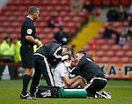 Neill Collins of Sheffield Utd receives treatment - English League One - Sheffield Utd vs Coventry City - Bramall Lane Stadium - Sheffield - England - 13th December 2015 - Pic Simon Bellis/Sportimage-