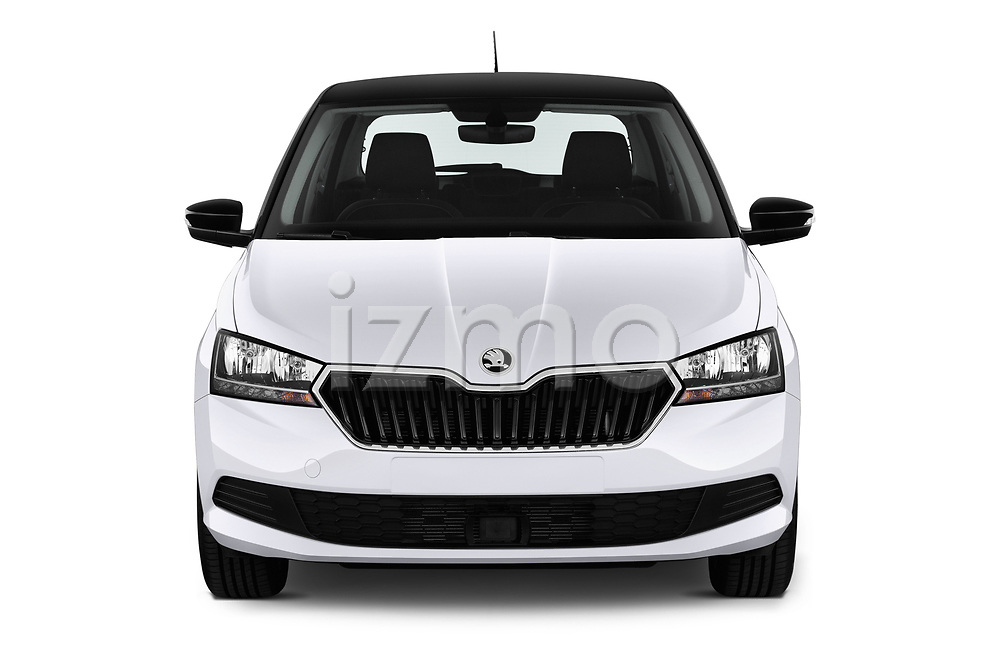 Car photography straight front view of a 2019 Skoda Fabia Ambition 5 Door Hatchback