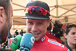Nicolas Roche (IRL) Team Sunweb retains the race leaders Red Jersey at the end of Stage 3 of La Vuelta 2019 running 188km from Ibi. Ciudad del Juguete to Alicante, Spain. 26th August 2019.<br /> Picture: Colin Flockton | Cyclefile<br /> <br /> All photos usage must carry mandatory copyright credit (© Cyclefile | Colin Flockton)