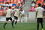 HOUSTON, TX - DECEMBER 11:  Hayden Partain (21) of Wake Forest University and Tanner Beason (3) of Stanford University compete for the ball during the Division I Men's Soccer Championship held at the BBVA Compass Stadium on December 11, 2016 in Houston, Texas.  Stanford defeated Wake Forest 1-0 in a penalty shootout for the national title. (Photo by Justin Tafoya/NCAA Photos via Getty Images)