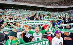 Stockholm 2015-07-13 Fotboll Allsvenskan Hammarby IF - Falkenbergs FF :  <br /> Hammarbys supportrar med halsdukar sunger under matchen mellan Hammarby IF och Falkenbergs FF  <br /> (Foto: Kenta J&ouml;nsson) Nyckelord:  Fotboll Allsvenskan Tele2 Arena Hammarby HIF Bajen Falkenberg FFF supporter fans publik supporters glad gl&auml;dje lycka leende ler le