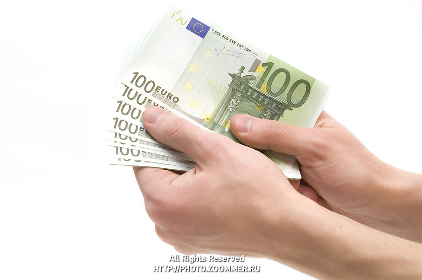 Male hands holding money (euro banknotes) isolated on white background