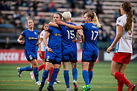 Seattle, WA - Wednesday, June 28, 2017: Beverly Yanez, Christine Nairn, and Megan Rapinoe during a regular season National Women's Soccer League (NWSL) match between the Seattle Reign FC and the Chicago Red Stars at Memorial Stadium.