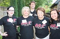 NWA Democrat-Gazette/CARIN SCHOPPMEYER Stephanie Weston-Rhodes (from left), Haylee Pierce, Chris Neyland, Betsy Kinkade, Mathias Elementary principal and Lauren Eide attend An Evening with Stacy Lewis on June 24.