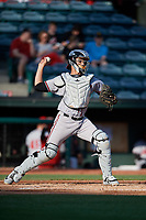 Richmond Flying Squirrels catcher Aramis Garcia (14) throws to second base during a game against the Altoona Curve on May 15, 2018 at Peoples Natural Gas Field in Altoona, Pennsylvania.  Altoona defeated Richmond 5-1.  (Mike Janes/Four Seam Images)
