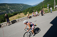 Paul Amey arrives in the village of Greolieres on the bike course of Ironman France 2012, Nice, France, 24 June 2012
