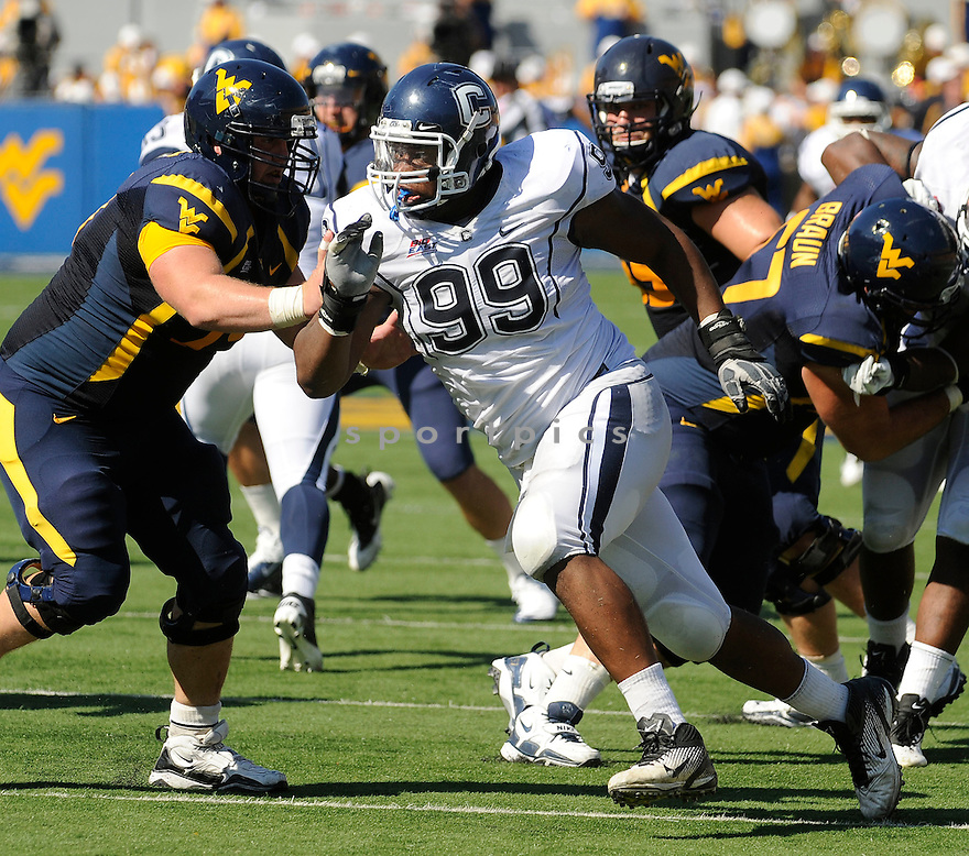 KENDALL REYES, of the Connecticut Huskies, in action during UConn's game against The West Virginia Mountaineers on October 8, 2011 at Milan Puskar Stadium in Morgantown, WV. West Virginia beat UConn 43-16.