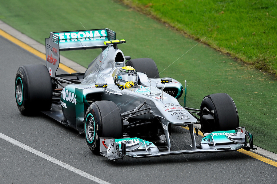 MELBOURNE, 25 MARCH - Nico Rosberg (Germany) driving the Mercedes GP Petronas F1 Team car (8) during practise session one of the 2011 Formula One Australian Grand Prix at the Albert Park Circuit, Melbourne, Australia. (Photo Sydney Low / syd-low.com)