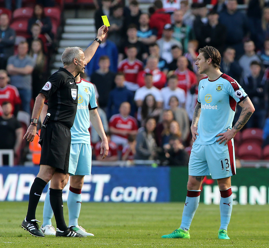 Burnley's Jeff Hendrick is booked by Referee Martin Atkinson<br /> <br /> Photographer David Shipman/CameraSport<br /> <br /> The Premier League - Middlesbrough v Burnley - Saturday 8th April 2017 - Riverside Stadium - Middlesbrough<br /> <br /> World Copyright &copy; 2017 CameraSport. All rights reserved. 43 Linden Ave. Countesthorpe. Leicester. England. LE8 5PG - Tel: +44 (0) 116 277 4147 - admin@camerasport.com - www.camerasport.com