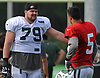 Brent Qvale #79, left, chats with Christian Hackenberg #5 after a day of New York Jets Training Camp at the Atlantic Health Jets Training Center in Florham Park, NJ on Wednesday, Aug. 9, 2017.
