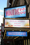 "Theatre Marquee for ""Waitress"" celebrating 'Sugar, Butter, Flour: The Waitress Pie Cookbook at The Brooks Atkinson Theatre on June 27, 2017 in New York City."