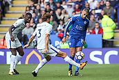9th September 2017, King Power Stadium, Leicester, England; EPL Premier League Football, Leicester City versus Chelsea; Islam Slimani of Leicester City chips the ball over the legs of Marcos Alonso of Chelsea