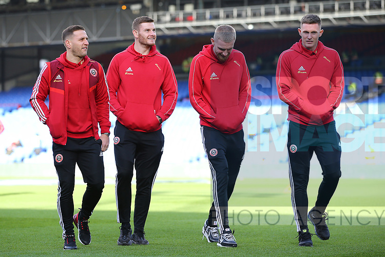 Sheffield United's John Fleck, Jack O'Connell,  Oliver McBurnie and goalkeeper Dean Henderson during the Premier League match at Selhurst Park, London. Picture date: 1st February 2020. Picture credit should read: Paul Terry/Sportimage