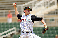 Starting pitcher Paul Burnside #43 of the Kannapolis Intimidators in action against the Hagerstown Suns at Fieldcrest Cannon Stadium on May 30, 2011 in Kannapolis, North Carolina.   Photo by Brian Westerholt / Four Seam Images